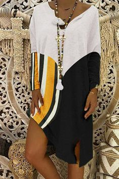 V-neck striped stitching T-shirt dress #striped, #AFF, #neck, #stitching, #dress #Adver