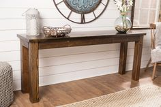 Learn more about the Farmhouse Sofa Table by James+James. Entry Hall Table, Dining Room Buffet, Entryway Tables, Dining Rooms, Sofa Table Styling, Sofa Side Table, Patterned Furniture, Solid Wood Furniture, Farmhouse Sofa Table