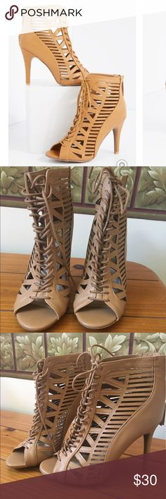 Tan caged heels Super cute tan heels made of vegan leather. 4.25 inch heel. Rue21 Shoes Heels