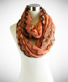 Another great find on #zulily! Coral & Black Zigzag Infinity Scarf #zulilyfinds