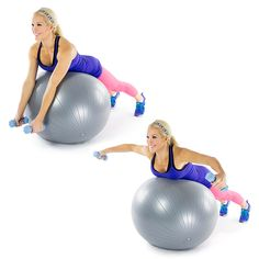 Stability Ball Reverse Fly: Kneel in front of the ball and lean forward to rest your core on it. Straighten your knees, so that your core and waistline are resting on the ball. Hold dumbbells out to either side with elbows slightly bent. Drop the dumbbells slowly toward the floor. Exhale as you raise your arms back to the starting position. As you go, it might feel heavy, so be sure you're raising the weights to shoulder height. Grand Pectoral, Chest Exercises, Body Exercises, Weight Exercises, Strength Workout, Strength Training, Bras, Fitness Tips, Health Fitness