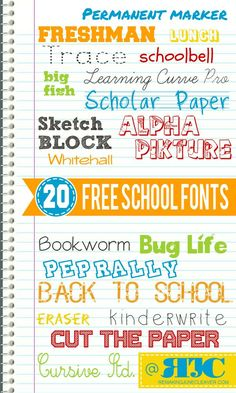 free back to school fonts  ~~ {20 free fonts w/ links}