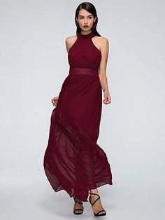 Red Halter Tied Back Ruched Detail Maxi Dress