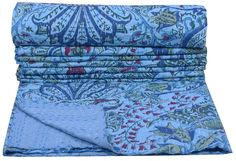 INDIAN KANTHA QUILT THROW GUDARI RALLI COTTON HAND STITCHED REVERSIBLE BEDSPREAD #Handmade #Traditional