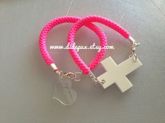 Cross pink Neon Bracelet set of two by didepux on Etsy, €7.00