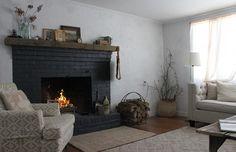 black brick fireplace - Google Search