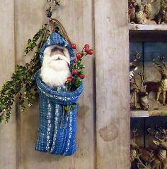 Primitive Old Blue Calico Quilt Belsnickle Santa Claus Ornament