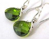 Olive Green Crystal Earrings
