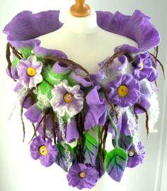 Wool Jewelry felted SCARF-SPRING BLOSSOM-100% WOOL MERINO £29.99