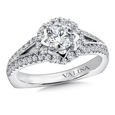 Valina - Halo Engagement Ring Mounting in 14K White Gold (.41 ct. tw.) #RQ9847W