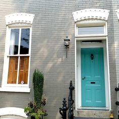 Benjamin Moore-Florida Keys Blue front door, gray painted brick