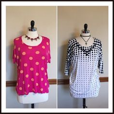 Pre-Made Bundle >> 2 trendy polkadot spring tops Two for the price of one! JCP pink & coral cap sleeve top, size XL. Lane Bryant black & white embellished dolman sleeve top, size 14, 16. Both fit the same. EUC Lane Bryant Tops