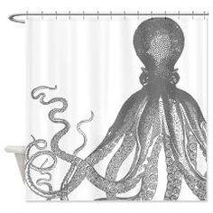 Vintage Octopus Wood Block Print Shower Curtain> Vintage octopus wood block print > Victory Ink Tshirts and Gifts