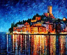 "Italia, Verona, espátula paisaje colorido óleo sobre lienzo por Leonid Afremov. Tamaño: 36 ""X 30"" pulgadas (90 cm x 75 cm)"