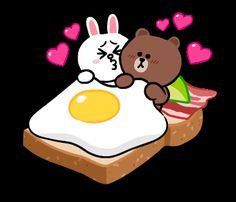 Cute and Mini Brown and Cony Funny Emoji Faces, Cute Emoji, Mobile Stickers, Cute Stickers, Egg Gif, Cute Bear Drawings, Cony Brown, Cute Love Gif, Bunny And Bear