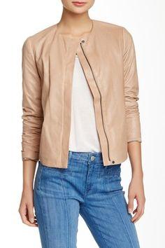 VINCE Engineered Perforated Genuine Leather Jacket