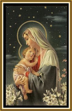 Madonna & Child under starry sky with lilies
