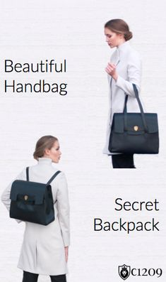 Introducing the Franklin by c1209: beautiful handbag, secret backpack.