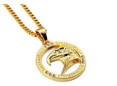 18K Gold Plating Eagle Head Necklace Pendant