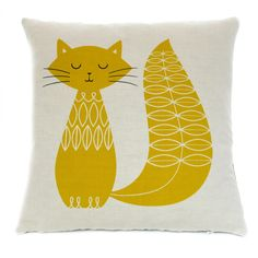 Cat Cushion - Mustard @ Howkapow