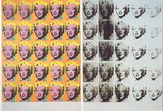 """Esta es una imatge de Andy Warhol """"Diptico de Marilyn"""" es la primera obra sobre Marilyn, y trata, sobre todo, de expresar el paso de la vida a la muerte con la misma imagen. A la izquierda, Marilyn aparece bella y sensual; a la derecha, la ausencia de color, la presencia del negro y el desvanecimiento de la imagen anuncian su desaparición. (Mundo Historia)"""