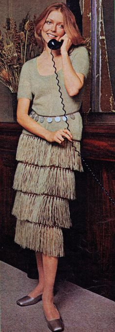 Knit Tiered Fringe Dress PDF Knitting Pattern Bust 30.5 to 38 inches Vintage 1970 Reproduction Instant Digital PDF ePattern Download