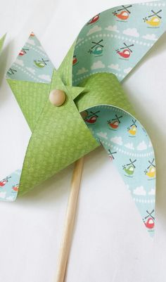 Pinwheels - boy birthday party, boy baby shower, nursery decor, helicopters, green, clouds