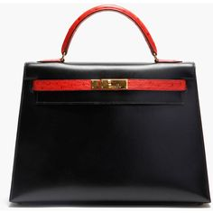 HERMES VINTAGE Black Box Leather and Red Ostrich Skin Kelly Tote