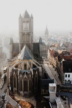 Saint Nicholas' Church (Sint-Niklaaskerk) as seen from the Belfry of Ghent, Belgium