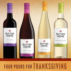 Because some guests prefer red or white wine, these four #SutterHome varietals pair well with nearly any #Thanksgiving feast.