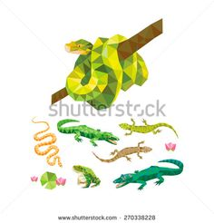 Geometric animals design set. Collection of color reptiles: snakes, lizards…