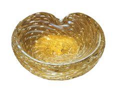 small Murano bowl; clear w/controlled bubbles & gold inclusions; ca. 1950