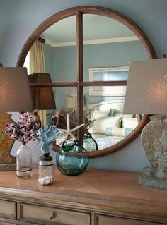 I have a mirror very similar to this made from an old church window...