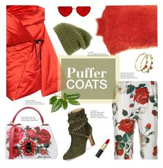 """""""Puffer Coats"""" by sara-cdth ❤ liked on Polyvore featuring Marni, Isa Arfen, Dolce&Gabbana, Schutz, Disney and The North Face"""