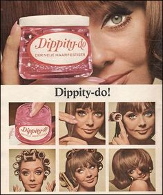 """Vintage Hair gel advertisment from a German Magazine.but every girl used a little """"Dippity-Do"""" to fix her hair in place. I remember --My mom always had this on her dresser when I was growing up! Retro Ads, Vintage Advertisements, Vintage Ads, Vintage Stuff, Retro Advertising, Vintage Vogue, Vintage Glamour, Advertising Campaign, Vintage Items"""