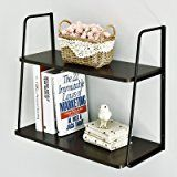 WELLAND 2-Tier Display Wall Shelf Storage Rack Wall Rack Holder Rack, Espresso