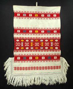 ANTIQUE Slovak Linen Folk Art Textile wrapping cloth wall hanging fringe  Detva c2528917ea3