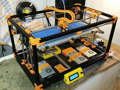 This is a CoreXY Printer and CNC. (Last updated - Jan Upgrade your Printer to this frame! Re-use your motors, electronics, hotend, he Big 3d Printer, Desktop 3d Printer, Laser Printer, 3d Printing Business, 3d Printing Diy, 3d Printer Designs, 3d Printer Projects, Arduino, 360 Design