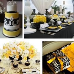 yellow, black and white wedding...