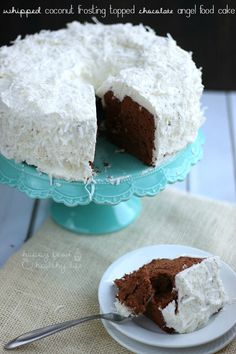 Chocolate Angel Food Cake with Whipped Coconut Frosting