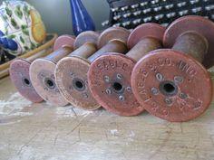 Antique Textile Spools from 1930's!   https://www.etsy.com/listing/92391082/5-vintage-antique-wooden-textile-mill