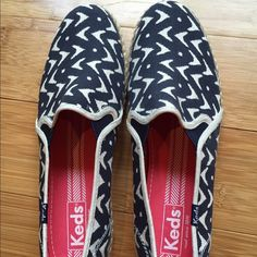 Navy and white Keds slip-ons Super cute pair of navy blue and white slip-on Keds with jute around the sides. All canvas with rubber sole. Worn once- just not a Keds girl. keds Shoes Sneakers