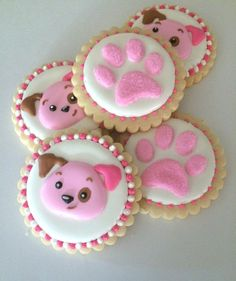 puppy party, paw print cookies