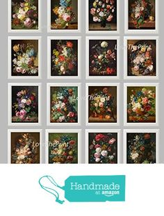 Botanical Set of 16 Prints Unframed Antique Beautiful French Garden Roses Pink Red Blue Hyacinth Nature Home Room Decor Wall Art from LoveThePrint https://www.amazon.com/dp/B01A2RX3XQ/ref=hnd_sw_r_pi_dp_iKnXyb2N692XA #handmadeatamazon