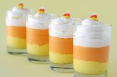 Candy Corn Cheesecake Mousse  This recipe yields a sweet and fluffy, light cream cheese flavored dessert.        1 package (8 oz.) cream cheese  1/2 cup powdered sugar  1/4 cup milk or cream  1 teaspoon vanilla  1 small container (8 oz.) Cool Whip, thawed      orange and yellow food color  candy corn (for garnish)      Directions ~  Beat cream cheese in the bowl of an electric mixer until fully smooth.  Slowly add powdered sugar, then milk (or cream).  Add vanilla.  Continue mixing.  Beat…