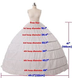 6 Hoop Crinoline Full A-Line Floor-Length Bridal Dress Gown Skirt Slip Petticoat 6 Hoop Krinoline Full A-Line bodenlangen Brautkleid Rock Slip Petticoat Ball Dresses, Bridal Dresses, Ball Gowns, Flapper Dresses, Bridal Gown, Wedding Dress, Skirt Patterns Sewing, Clothing Patterns, Crinoline Dress