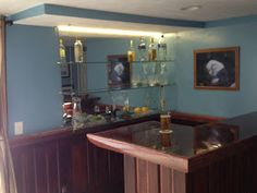 Build a Home Bar     Using recycled materials is an inexpensive way to do it     This is the finished Bar             Using doors and grea...