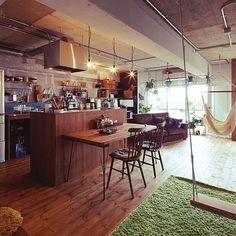 Folding table option with high island surface. Living Room Interior, Kitchen Interior, Interior And Exterior, Kitchen Design, Interior Design Inspiration, Decor Interior Design, Interior Decorating, Home Design Diy, House Design