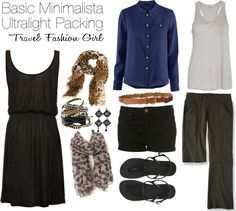 Basic Minimalista Ultralight Packing - switch shorts to black and white printed ones, button up shirt to a chambray one, pants to Anatomie black travel slim leg pants, dress to an infinity style, and swap out the earrings for a necklace. Great job Travel Fashion Girl, I loooooove this packing list!