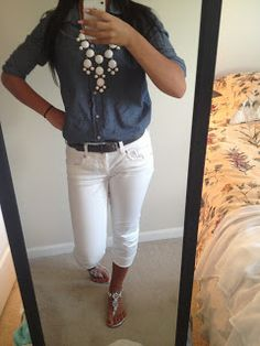 Casual outfit for spring/ summer. White capris with light shirt and bubble necklace.  Go to this blog for outfit ideas!